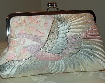 Wedding Kimono Fabric Bag/Purse/Clutch..Embroidered Flying Phoenix Bird..Bridal Blue..Free Monogram,,Shawl/Wrap/Shrug available