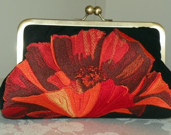 Fiery Oriental Poppy Clutch/Purse/Bag..Bridal/Wedding Gift..Embroidered..Free Monogram..Red/Gold on Black Silk Kimono Fabric..Red on Black