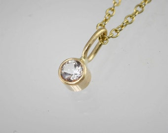 """Aquamarine Drop Necklace in 14k Yellow Gold (16"""")"""