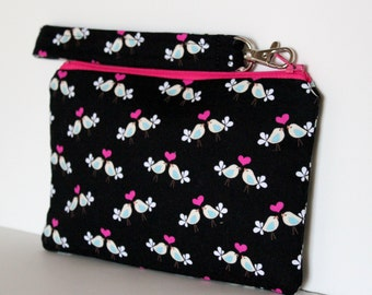 Clearance - Sweet Tweets Wristlet with Removable Swivel Clip Strap