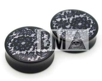 6g (4mm) Black Lace BMA Plugs Single Flare Pair