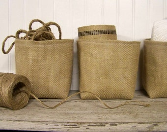 burlap basket - natural - organize - storage basket - bin - fabric basket - large basket - fabric container - baskets