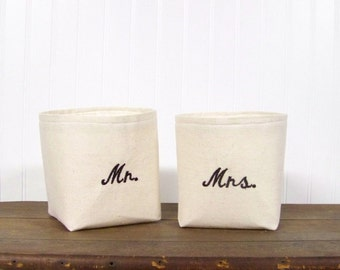 free shipping -embroidered Mr. and Mrs. baskets - wedding gift - his and hers - personalized gift - storage baskets - bathroom - bath -
