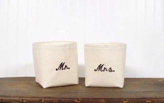 embroidered Mr. and Mrs. baskets - linen - wedding gift - his and hers - personalized gift - storage baskets - bathroom - bath -