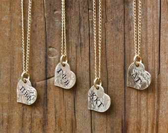 Sorority Necklace, Gold Heart DOUBLE SIDED STAMPING - Sorority Jewelry, Greek Letters Big Sis Little Sis Gift, Sorority Graduation Gift