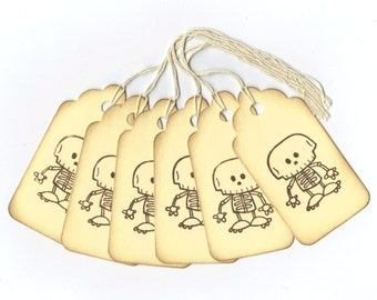 Halloween Tags - Spooky Skeleton Hand Stamped Large Scallop Die Cut Hang Tags (Set of 6) Favor Tags