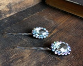 Vintage Upcycled  Rhinestone Buttons into Bobby Pins Hair Accessory Fascinator