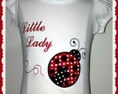 Girls Personalised Little Lady Bug Appliqued Tee T Shirt