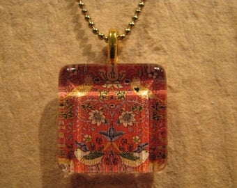 "William Morris Red Strawberry Thief Fabric Square Glass Pendant with 24"" Ball Chain Necklace Arts and Crafts Jewelry"