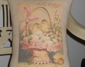 Vintage Style Easter Chicks Shabby Chic Pillow Cover with Pillow Form,Throw Pillow, Cottage Cushion