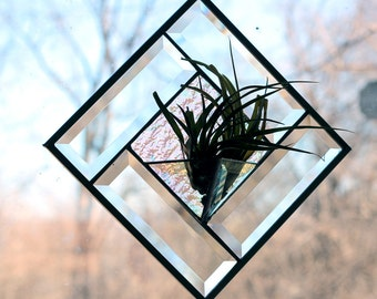 Beveled Glass Air Plant Terrarium – Stained Glass Décor