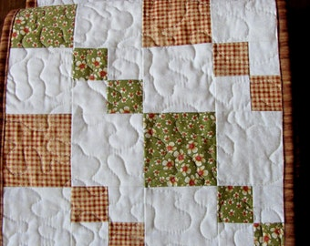 Brown Green Country Quilted Patchwork Table Runner