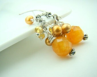 Golden dangle earrings, gemstone earrings, pearl dangles, yellow jade