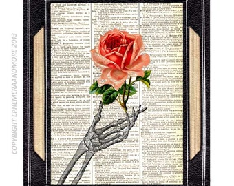 SKELETON HAND with Rose art print True Love Never Dies Wedding Anniversary Valentine on vintage dictionary book page Humorous Romantic 8x10