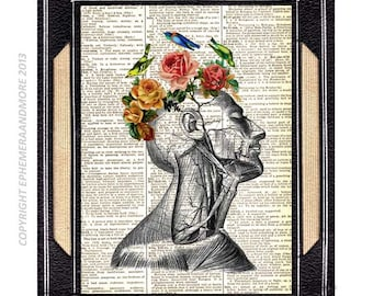 ANATOMICAL HEAD art print wall decor romantic poet Surreal Human Anatomy illustration on vintage dictionary book page Roses Birds 8x10, 5x7