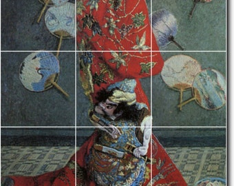 S-M-L-XL Custom Ceramic Women Painting Tile Mural. La Japonaise Camille Monet In Japanese Costume By Claude Monet