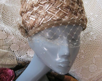Vintage taupe shades summer pillbox hat, woven light tan raffia pillbox dome hat, tan woven raffia hat with netting and velvet trim