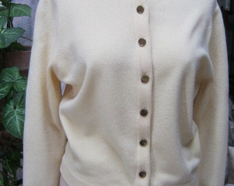 Vintage palest yellow cashmere - soft cardigan sweater, light yellow button front cardigan sweater, yellow sweater  sz  Small