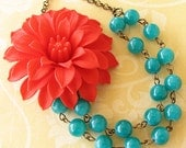 Flower Necklace Teal Jewelry Statement Necklace Teal Necklace Red Bridesmaid Jewelry Double Strand Bib Necklace
