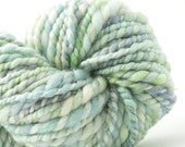 Joli Green, HandSpun and Hand dyed Yarn, Silk and Wool, bulky, 2ply, 70 yards