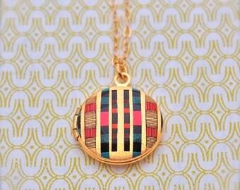 Mini Locket Necklace Alyson Fox Design Geometric Design Wedding Weddings Bridesmaids Gifts Tiny Jewelry Art Lockets Personalize Custom