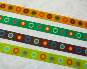 "3/8"" Mod Dot Ribbon Mustard Yellow Ribbon Green Ribbon Brown Ribbon Lime Green Ribbon Satin Ribbon 4 yards 1 yd each Crafting Sewing"