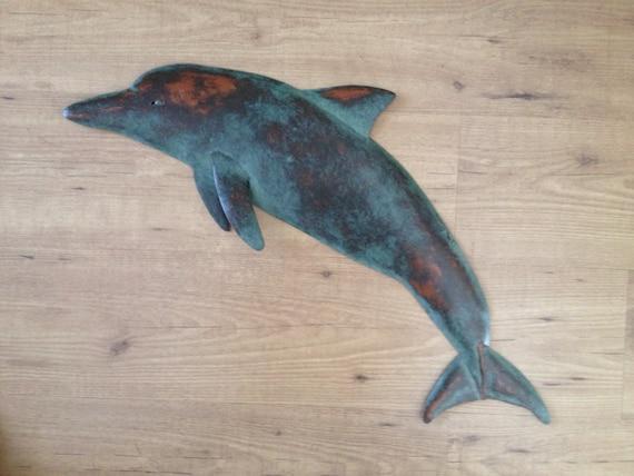Dolphin Metal Metal Wall sculpture 30in Tropical Beach Coastal ocean Fish Art