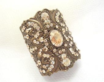 Champagne crystal bracelet, Bridal bracelet, Wedding jewelry, Antique gold bracelet, Cuff bracelet, Vintage style bracelet, Statement cuff