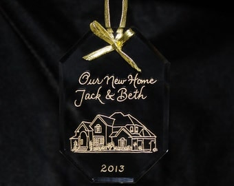 Ornament First Christmas in New Home, SHIPS in 24 HOURS! Custom Engraved, Your Home Free Shipping in US