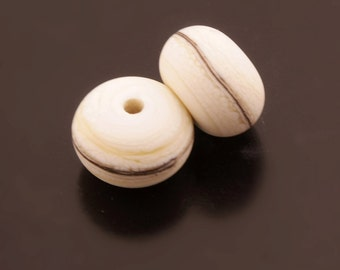 Ivory Cream Bead Pair Southwest Handmade Lampwork Beads Silvered Ivory Etched Rondelle Heather Behrendt  SRA
