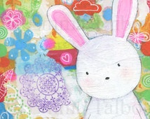 White Rabbit Art, Bunny Art, Mixed Media Art, Art For Girls, Nursery Art by Emma Talbot of The Little Cloth Rabbit