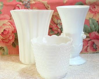 Milk Glass Vases And Planter