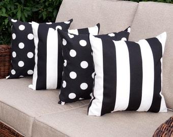 Black Outdoor Throw Pillow, Black White Stripe Pillow, Polka Dot Black And White  Outdoor