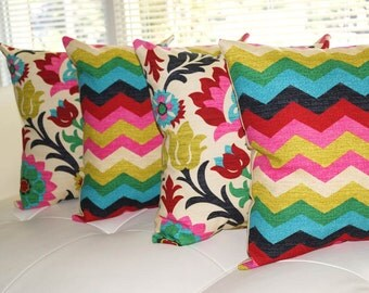 Floral Pillow, Chevron Pillow, Panama Wave Desert Flower and Santa Desert Flower Double Sided Decorative Throw Pillows - 4 Pk Free Shipping