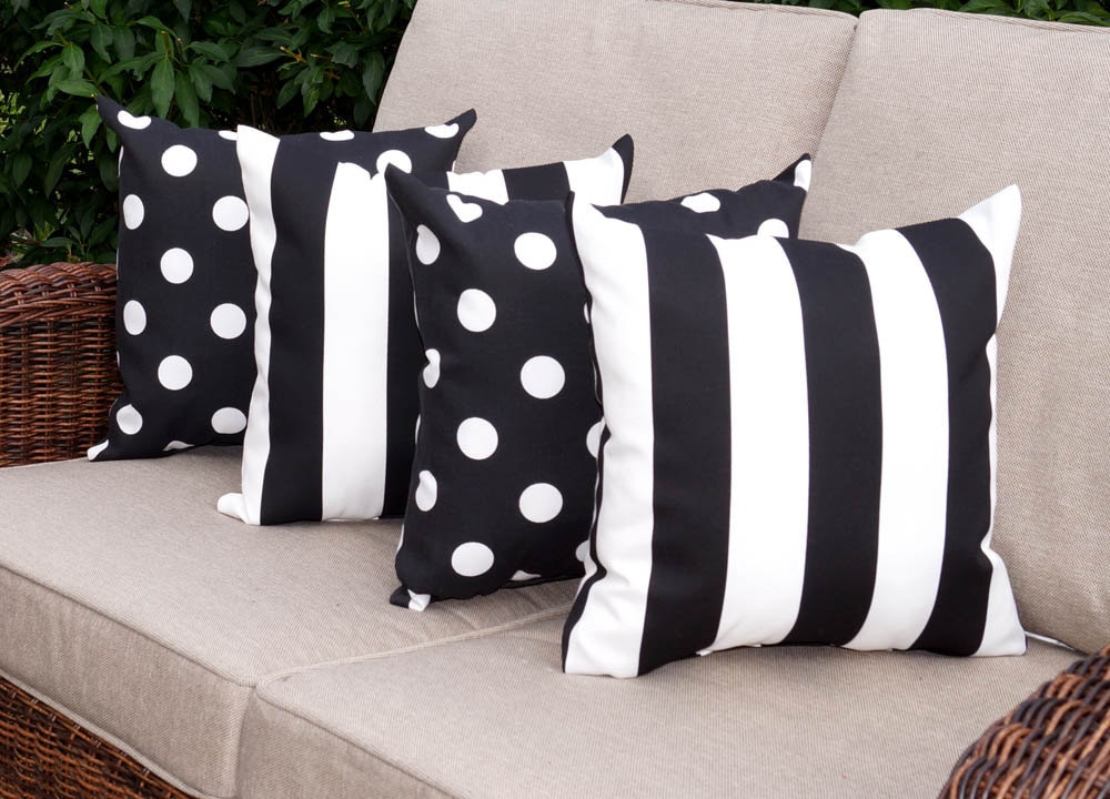 Black And White Stripe Outdoor Throw Pillows : Black Outdoor Throw Pillow Black White Stripe Pillow Polka
