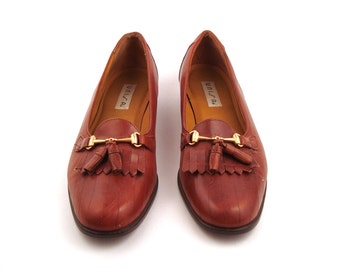 Loafers Brown Vintage 1980s Carmel Leather Shoes Unisa Women's size 9