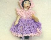 """tiny crocheted doll fress for a 2-2 1/2"""" doll so cute."""