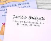 Custom casual calligraphy return address stamp--105TS or 105SI