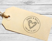 Save the date custom wedding stamp with swirly heart--131TS