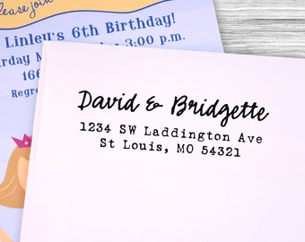 Custom casual calligraphy return address stamp--105TS or 105SI