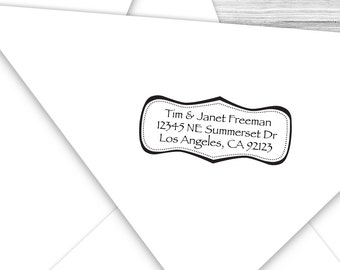 Custom address stamp with a bracket outline--112TS or 112SI