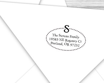 Custom address stamp dotty oval with your initial--135TS