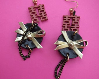 Red Oriental Double Happiness Black and Gold leathered Dangling earrings