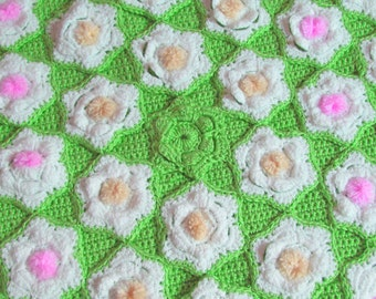 Flower Afghan, Crochet Throw, Blooming Flowers, One of a Kind