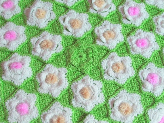 Flower Afghan, Crochet Throw, Blooming Flowers, One of a Kind