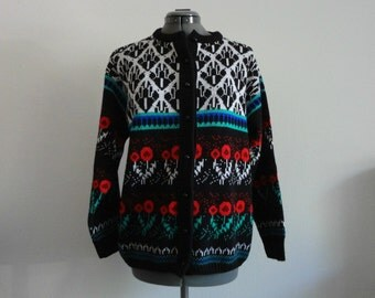 VINTAGE novelty FLORAL knit CARDIGAN sweater - md / lg
