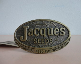 VINTAGE JACQUES seeds belt BUCKLE - farmers feed the world