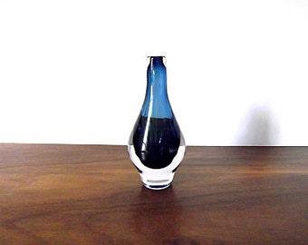 Modernist KOSTA Sweden Mona Morales-Schildt Cobalt Blue Cased Art Glass Vase / TINY / DIMINUTIVE