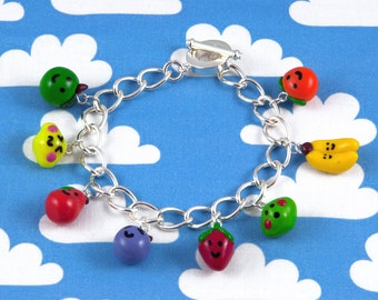 Kawaii Polymer Clay Charm Bracelet - Fruit Friends
