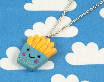 Kawaii Happy Fries Necklace Blue